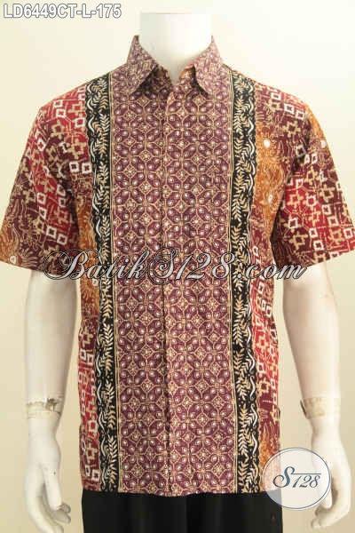 Produk Baju Batik Cowok Terkini, Hem Batik Modis Berbahan Halus Motif Berkelas Proses Cap Tuli, Pria Tampil Makin Ganteng Maksimal [LD6449CT-L]