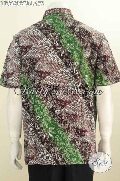 Pakaian Batik Modern Dengan Motif Kombinasi Model Lengan Pendek Dengan Desain Keren Dan Gaul, Baju Batik Buatan Solo Proses Cap Tulis Harga 170 Ribuan [LD6450CT-L]