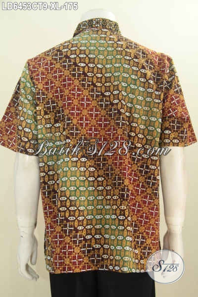 Batik Hem Lengan Pendek Motif Kombinasi Modern Dan Klasik, Berbahan Halus Proses Cap Tulis Yang Nyaman Di Pakai Kerja, Size XL