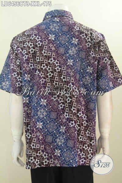 Hem Batik Istimewa Lengan Pendek Ukuran Jumbo, Produk Pakaian Batik Khusus Lelaki Gemuk Motif Mewah Proses Cap Tulis Harga Terjangkau [LD6456CT-XXL]