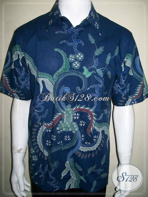 Kemeja Batik Tulis Biru Harga 145 Ribu Rupiah, Kualitas Bagus Asli Batik Tulis Solo [LD649T-L]