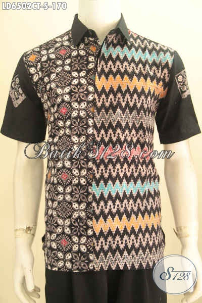 Baju Batk Keren Anak Muda, Pakaian Batik Modis Motif Unik Proses Cap Tulis Bahan Adem Harga 170 Ribu Model Lengan Pendek [LD6502CT-S]