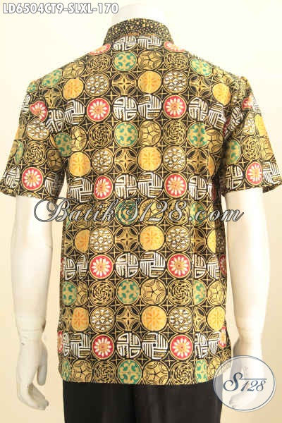 Baju Batik Modern Motif Unik, Pakaian Batik Istimewa Lengan Pendek Proses Cap Tulis Yang Bikin Penampilan Lebih Gagah Dan Gaya [LD6504CT-S , L]