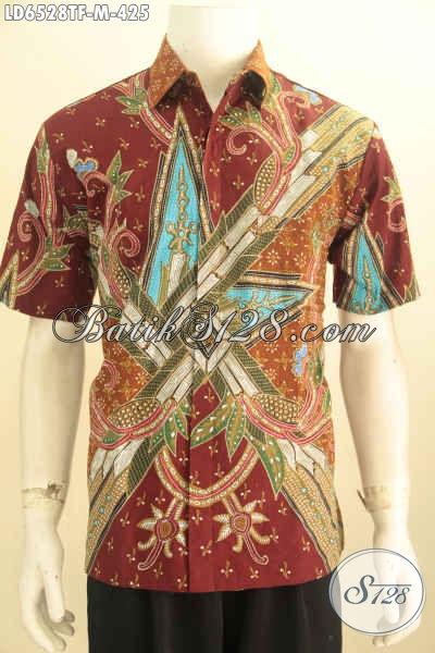 Baju Batik Modern Lengan Pendek Istimewa Berbahan Halus Motif Trendy Proses Tulis Tangan Bikin Penampilan Makin Istimewa [LD6528TF-M]