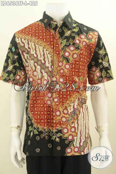 Pakaian Batik Kwalitas Premium, Baju Seragam Kerja Bahan Batik Solo Tulis Tangan Motif Bagus Model Lengan Pendek Pakai Furing Tampil Makin Berwibawa [LD6536TF-L]