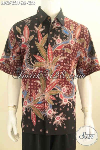 Jual Busana Batik Modis Dan Mewah, Produk Pakaian Batik Istimewa Untuk Kerja Model Lengan Pendek Full Furing Motif Tulis Tangan Tampil Nyaman, Size XL
