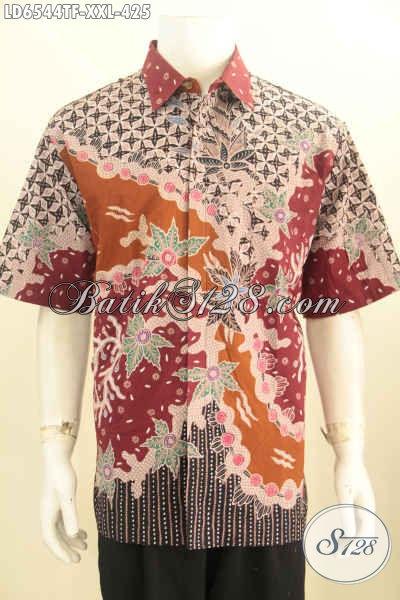 Batik Kemeja Mewah 3L, Pakaian Batik Premium Halus Lengan Pendek Proses Tulis Dalema Full Furing Khusus Untuk Pria Gemuk
