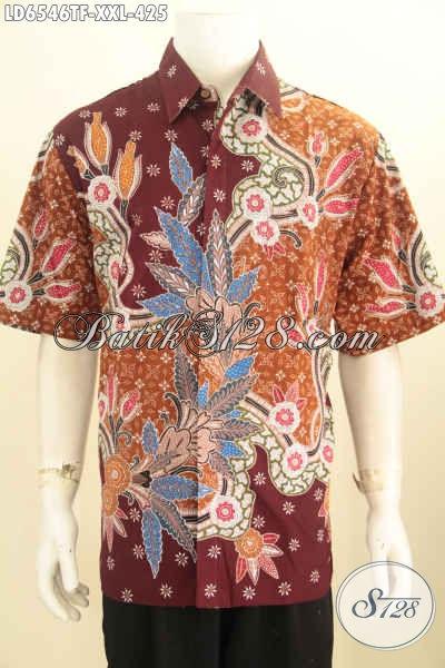 Produk Busana Batik Pria Gemuk Terkini, Hem Batik Halus Lengan Pendek Motif Mewah Tulis Tangan Pakaian Furing Yang Bikin Penampilan Lebih Gagah Berwibawa [LD6546TF-XXL]
