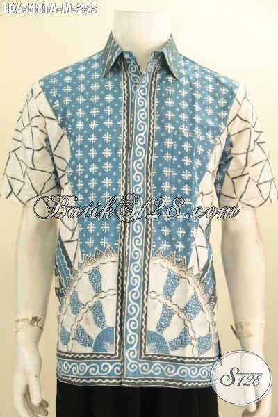 Hem Batik Halus Lengan Pendek Kwalitas Mewah, Pakaian Batik Elegan Proses Tulis Warna Alam Daleman Tidak Pakai Furing, Baju Batik Solo Bikin Pria Terlihat Macho [LD6548TA-M]