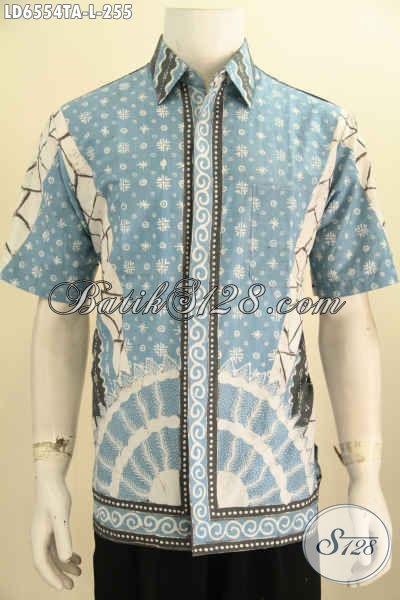 Baju Hem Batik Lengan Pendek Halus Motif Mewah Proses Tulis Warna Alam, Baju Batik Solo Kwalitas Premium Untuk Kerja Dan Kondangan Harga 255K [LD6554TA-L]