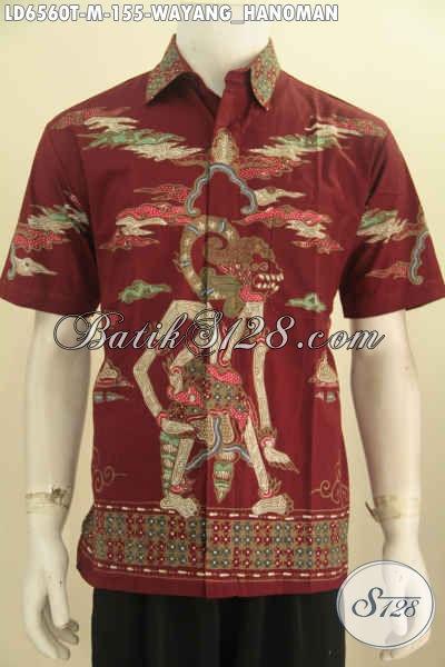 Baju Batik Lengan Pendek Merah Motif Hanoman Kwalitas Istimewa Proses Tulis Untuk Penampilan Lebih Macho, Size M