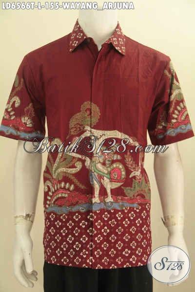 Busana Batik Modern Warna Merah, Pakaian Batik Wayang Terbaru Bermotif Arjuna Proses Tulis Model Lengan Pendek  Menunjang Penampilan Makin Ganteng Maksimal [LD6566T-L]