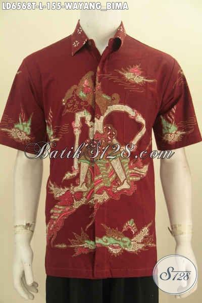 Hem Batik Pria Muda Dan Dewasa Untuk Tampil Keren Dan Gagah, Baju Batik Tulis Lengan Pendek Motif Wayang Bima Harga 150 Ribuan [LD6568T-L]