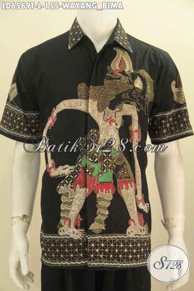 Hem Batik Solo Motif Bima, Baju Batik Wayang Kesukaan Para Pria Pecinta Fashion Batik, Hadir Dengan Bahan Halus Proses Tulis Lengan Pendek Ukuran L [LD6569T-L]