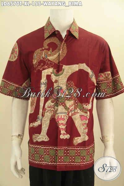 Baju Hem Batik Halus Proses Tulis Motif Wayang Bima, Kemeja Lengan Pendek Buatan Solo Size XL Di Jual Online 100 Ribuan [LD6570T-XL]