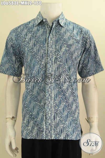 Baju Batik Solo Buat Seragam Kerja, Pakaian Batik Lengan Pendek Lelaki Muda Dan Dewasa Berbahan Halus Proses Cap Motif Klasik Untuk Penampilan Lebih Elegan [LD6582C-XL]