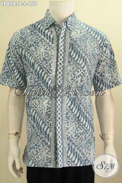 Jual Kemeja Batik Online, Baju Batik Modis Dan Keren Desain Formal Motif Elegan Proses Cap Ukuran L, Istimewa Untuk Acara Resmi Dan Busana Kerja [LD6585C-L]