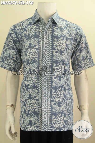 Batik Hem Keren Modis Dan Berkelas, Jual Pakaian Batik Pria Karir Bahan Halus Proses Cap, Size L – XL