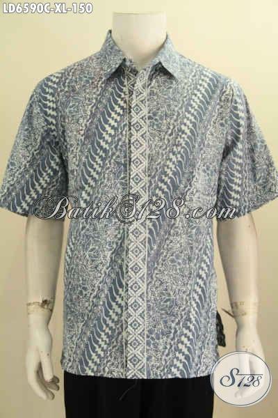 Hem Batik Modis Size XL, Baju Batik Kerja Pria Dewasa Karir Aktif Lengan Pendek Proses Cap Motif Bagus Untuk Tampil Lebih Keren Dan Berkelas [LD6590C-XL]