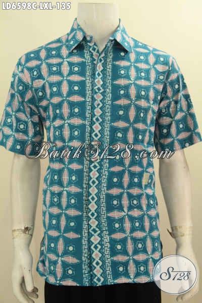 Batik Hem Keren Nan Modis, Pakaian Batik Lengan Pendek Halus Proses Cap Asli Buatan Solo Cocok Untuk Hangout Dan Seragam Kerja Kantoran [LD6598C-L , XL]