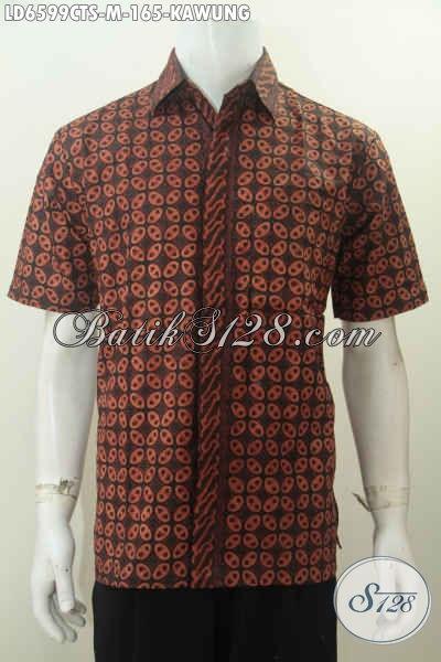 Kemeja Batik Elegan Motif Kawung, Baju Batik Klasik Lengan Pendek Ukuran M Bahan Adem Tampil Berwibawa