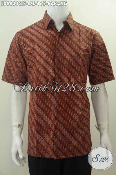 Hem Batik Motif Parang Untuk Pria Dewasa, Kemeja Batik Halus Elegan Harga 165K Proses Cap Tulis Soga, Size XL