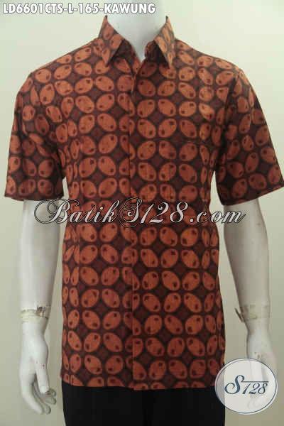 Pakaian Batik Lengan Pendek Motif Kawung Proses Cap Tulis Warna Soga, Pakaian Batik Halus Buatan Solo Untuk Lelaki Tampil Gagah Berwibawa, Size L