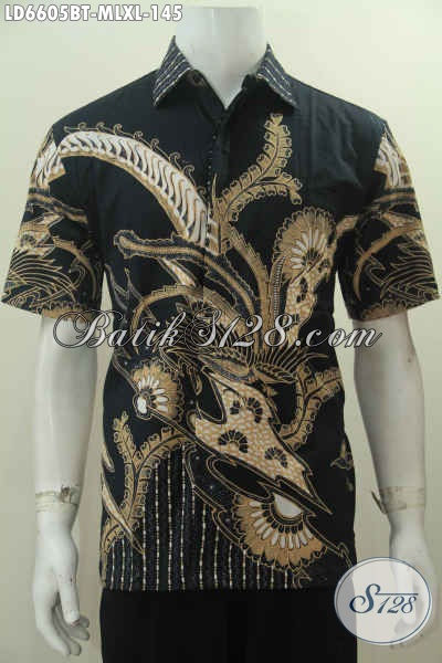 Hem Batik Elegan Dasar Hitam Motif Keren Proses Kombinasi Tulis, Pakaian Batik Fashion Buatan Solo Untuk Yang Muda Dan Dewasa Tampil Lebih Gaya [LD6605BT-XL]