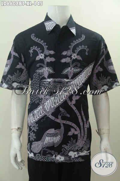 Hem Batik Hitam Nan Elegan, Baju Batik Motif Keren Proses Kombinasi Tulis Berbahan Halus Hanya 145 Ribu, Size XL