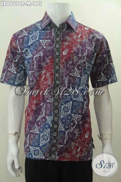 Hem Batik Cap Tulis Modis Lengan Pendek, Pakaian Batik Keren Halus Warna Gradasi Non Furing, Size M