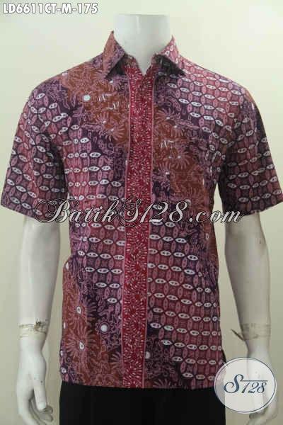Kemeja Batik Keren Lengan Pendek, Baju batik Halus Modis Kwalitas Istimewa, Hem Batik Istimewa Buatan Solo Ukuran M Tampil Lebih Kece