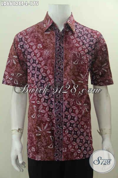 Produk Kemeja Batik Lengan Pendek Nan Modis, Hem Batik Cap Tulis Dengan Desain Modern Berpadu Warna Trendy Cocok Buat Gaul [LD6612CT-L]