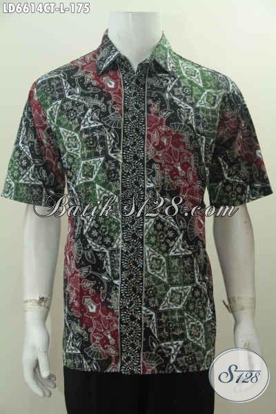 Baju Batik Modern Warna Gradasi, Kemeja Batik Elegan Formal Bahan Adem Proses Cap Tulis Harga 175K, Pas Buat Ke Kantor, Size L