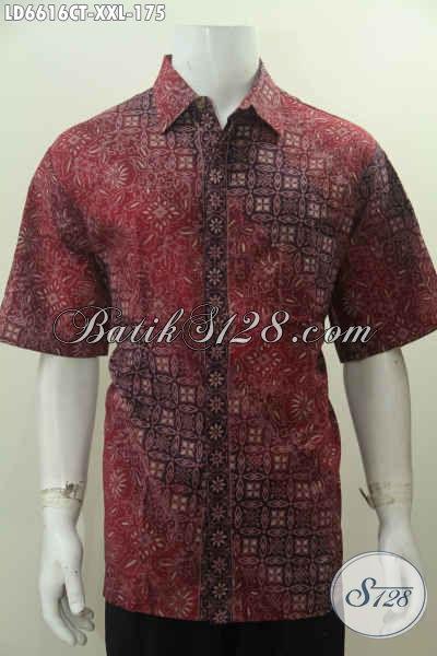Hem Batik 3L Warna Merah Motif Bagus Proses Cap Tulis, Pakaian Batik Lelaki Gemuk Bautan Solo Harga Terjangkau, Size XXL
