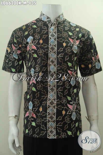 Produk Kemeja Batik Modern Lengan Pendek Kwalitas Bagus Motif Keren Proses Cap Model Koko, Size M