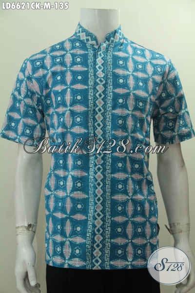 Kemeja Batik Elegan Keren Warna Biru, Baju Batik Kerah Shanghai Berbahan Halus Proses Cap Harga 135K, Size M