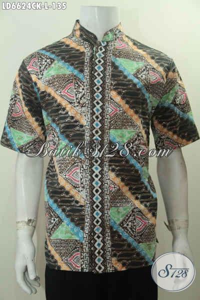 Jual Online Baju Batik Koko Lengan Pendek Size L, Pakaian Batik Modis Halus Buatan Solo Harga 135 Ribu