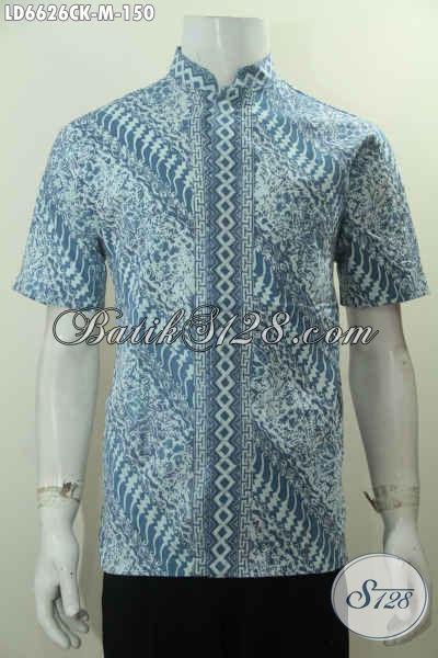 Baju Batik Solo Halus Model Kerah Shanghai, Busana Batik Muslim Lengan Pendek Proses Cap Kwalitas Istimewa Harga 150K, Size M
