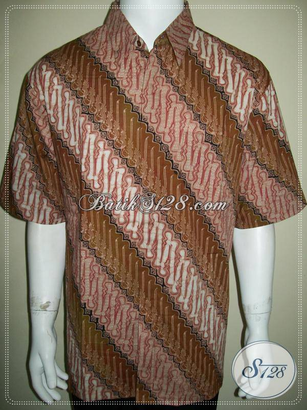 Batik Kantoran Pria Motif Parang Warna Coklat Soga Keren [LD662CT-XL]