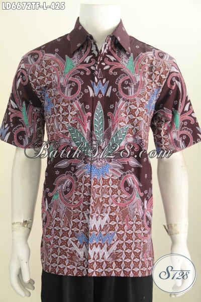 Sedia Pakaian Batik cowok Size L Berbahan Halus Motif Mewah, Baju Batik Full Furing Proses Tulis Tangan Harga 425K [LD6672TF-L]