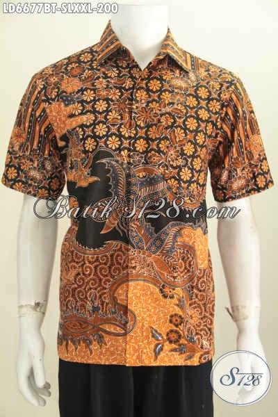 Jual Kemeja Batik Elegan Dan Berkelas Model Lengan Pendek Motif Terbaru Berbahan Adem Harga 200 Ribu Cocok Untuk Seragam Kerja [LD6677BT-S]