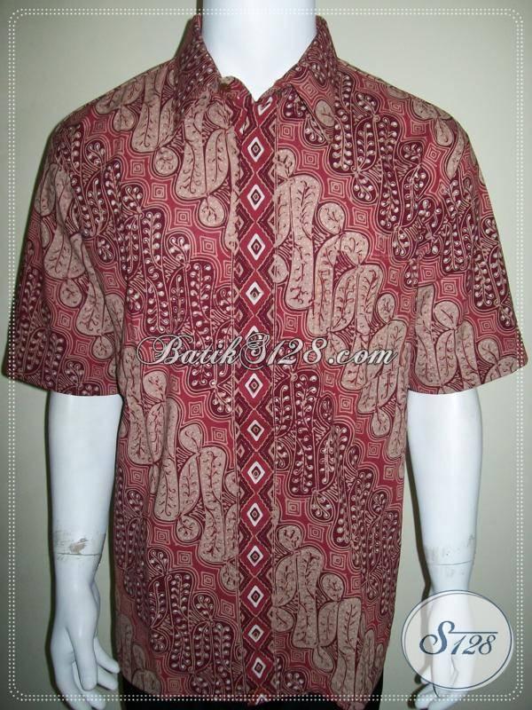 Batik Pria Eksklusif Lengan Pendek Motif Parang Elegan Warna Merah [LD667CT-XL]