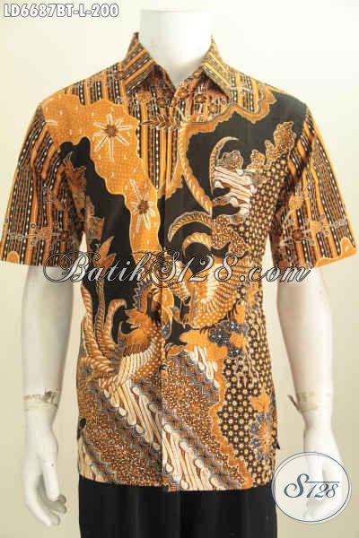 Hem Batik Elegan Lengan Pendek Motif 2016, Baju Batik Seragam Kerja Pria Bahan Adem Proses Kombinasi Tulis Tampil Makin Istimewa [LD6687BT-L]