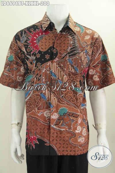 Hem Batik Jumbo Lengan Pendek, Pakaian Batik Halus Nan Istimewa, Produk Baju Batik Buatan Solo Untuk Tampil Gagah Dan Mempesona, Size XXL