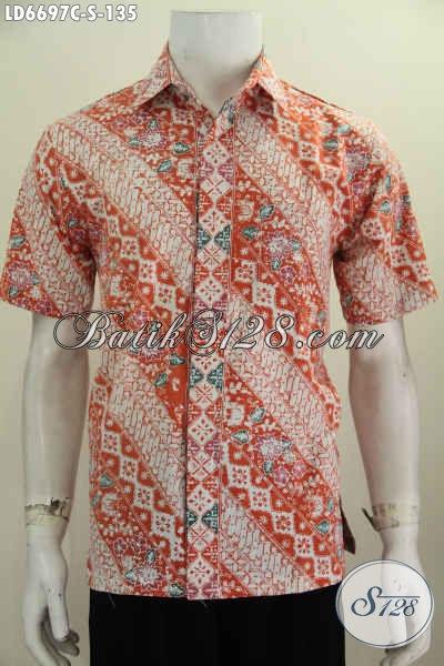 Kemeja Bati Parang Bunga Warna Cerah Model Lengan Pendek, Busana Batik Halus Dan Modis Proses Cap Untuk Pria Muda Dan Remaja Tampil Gaya [LD6697C-S]