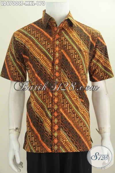 Jual Baju Batik Elegan Motif Klasik Nan Berkelas, Baju Batik Cap Tulis Solo Harga 170 Ribu Model Lengan Pendek Pas Baut Ke Kantor Dan Acara Formal [LD6700CT-XL]