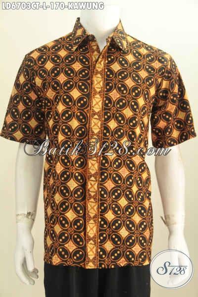 Hem Batik Klasik Motif Kawung Dengan Warna Elegan, Baju Batik Halus Dan Istimewa Proses Cap Tulis Cocok Untuk Acara Resmi [LD6703CT-L]