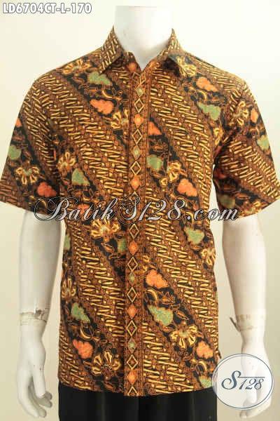Baju Batik Hem Lengan Pendek Motif Parang Bunga, Busana Batik Halus Buatan Solo Proses Cap Tulis Hanya 100 Ribuan, Size L