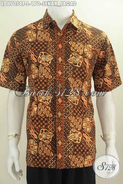 Baju Batik Kerja Motif Klasik Sekar Jagad, Pakaian Batik Halus Proses Cap Tulis Bahan Adem Harga 170K, Size L