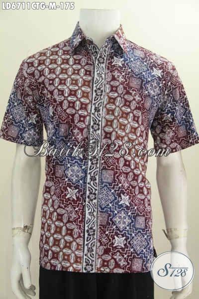Aneka Baju Batik Halus Untuk Pria Muda, Hem Lengan Pendek Motif Trend Terkini Proses Cap Tulis Soga Harga 170 Ribuan, Size M